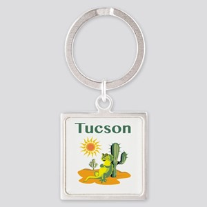 Tucson Lizard Under Cactus Keychains
