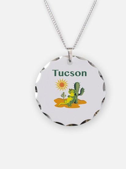 Tucson Lizard Under Cactus Necklace Circle Charm