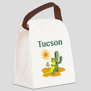 Tucson Lizard under Cactus Canvas Lunch Bag