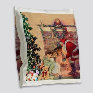 The Night Before Christmas Burlap Throw Pillow