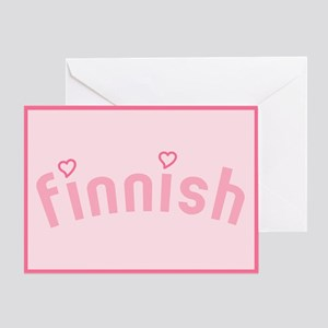 """Finnish with Hearts"" Greeting Card"