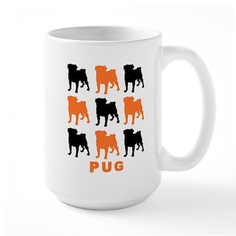 Orange & Black Pugz Large Mug
