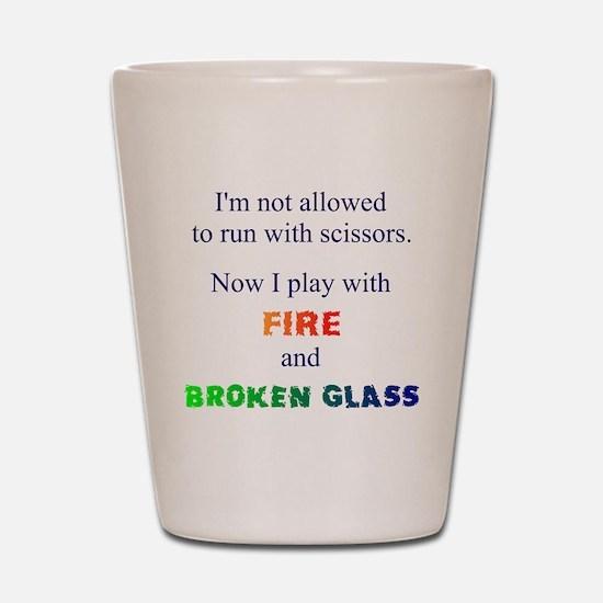 Fire And Broken Glass Shot Glass