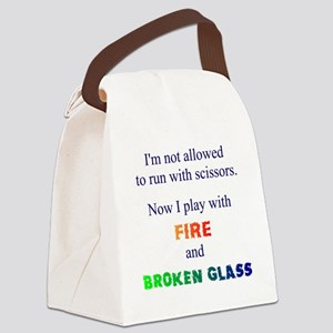 Fire And Broken Glass Canvas Lunch Bag