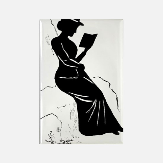 Cute Woman reading book Rectangle Magnet