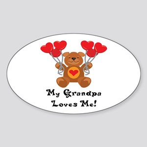 My Grandpa Loves Me! Oval Sticker