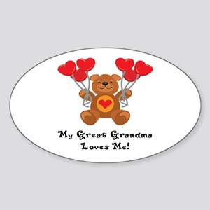 My Great Grandma Loves Me! Oval Sticker