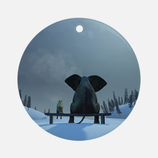 Dog and Elephant Friends Round Ornament