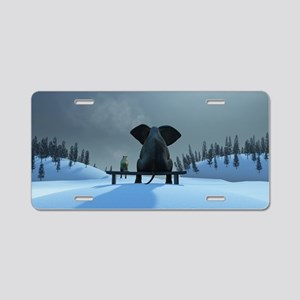 Dog and Elephant Friends Aluminum License Plate