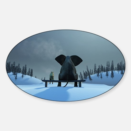 Dog and Elephant Friends Sticker (Oval)