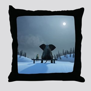 Dog and Elephant Friends Throw Pillow
