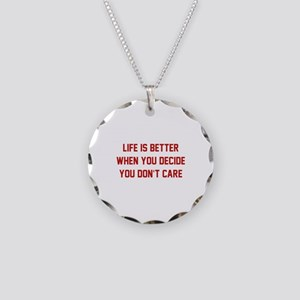 Don't Care Necklace Circle Charm