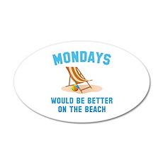 Mondays On The Beach 22x14 Oval Wall Peel
