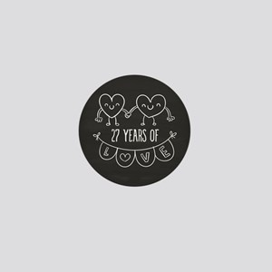 27th Anniversary Gift Chalkboard Heart Mini Button