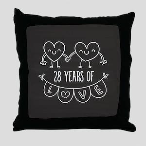 28th Anniversary Gift Chalkboard Hear Throw Pillow
