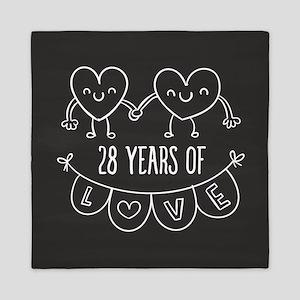 28th Anniversary Gift Chalkboard Heart Queen Duvet