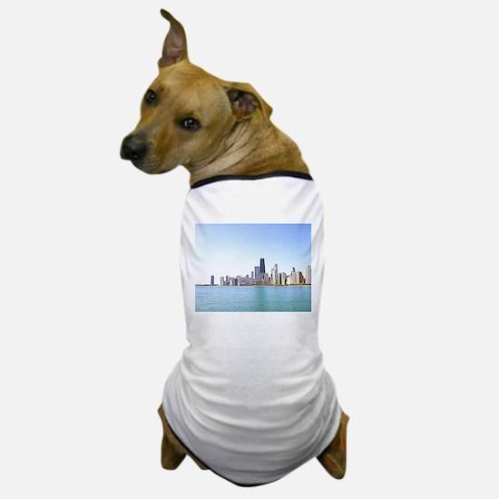 Airbrushing of Chicago Skyline Dog T-Shirt