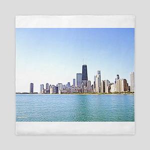 Airbrushing of Chicago Skyline Queen Duvet