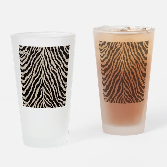 Zebra Print Brown Beige Tan Drinking Glass