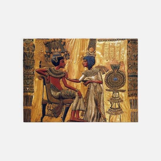 Tutankhamun Ankhesenamun Egypt Gold 5'x7'Area Rug