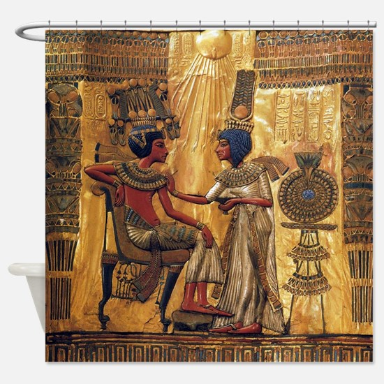 Tutankhamun Ankhesenamun Egypt Gold Shower Curtain