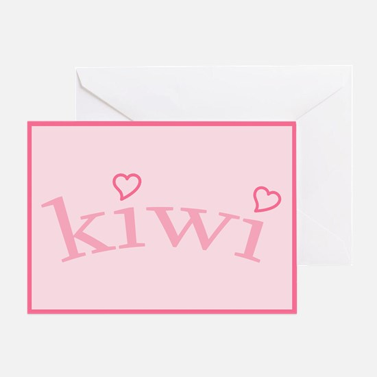 """Kiwi with Hearts"" Greeting Card"