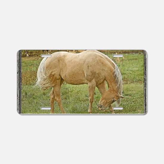 Wood window palomino Aluminum License Plate