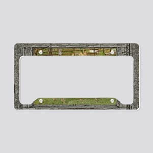 Wood window palomino License Plate Holder