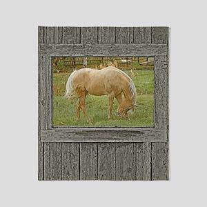 Wood window palomino Throw Blanket