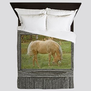 Wood window palomino Queen Duvet