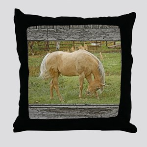Wood window palomino Throw Pillow