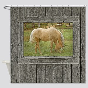 Wood window palomino Shower Curtain