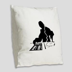 Dj Mixing Turntables Club Musi Burlap Throw Pillow
