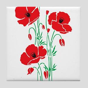 Poppy Plant Flower poppies herbs Tile Coaster