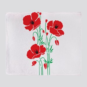 Poppy Plant Flower poppies herbs Throw Blanket