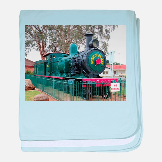 Steam train engine, Parkes, Australia baby blanket