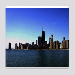 The Chicago Skyline in Feathered Art Tile Coaster