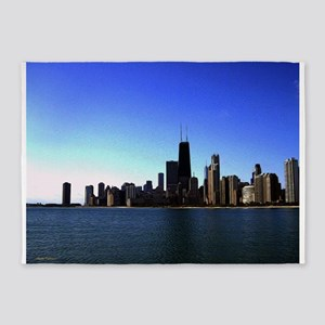 The Chicago Skyline in Feathered Art 5'x7'Area Rug