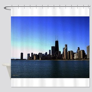 The Chicago Skyline in Feathered Art Shower Curtai