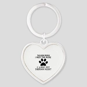 I Like More My Siberian Husky Heart Keychain