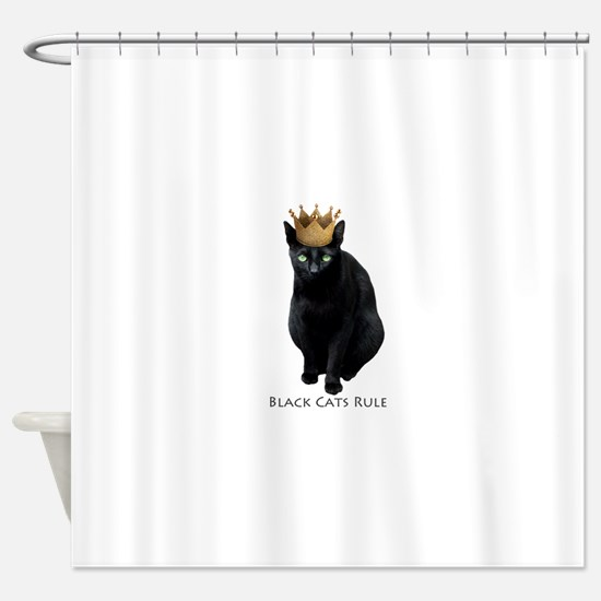Black Cats Rule Shower Curtain