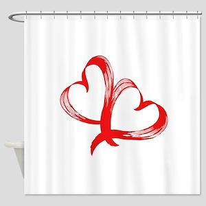 Double Heart Shower Curtain