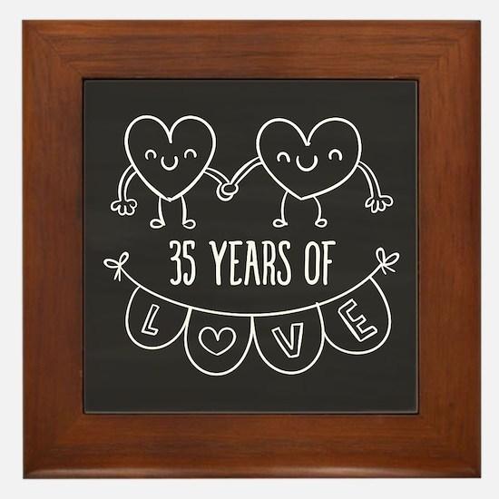 35th Anniversary Gift Chalkboard Heart Framed Tile