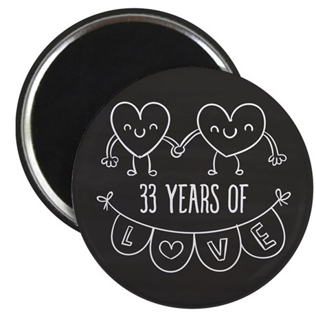 33rd Anniversary Gift Chalkboard Hearts Magnet  sc 1 st  CafePress & 33rd Wedding Anniversary Magnets - CafePress