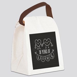 38th Anniversary Gift Chalkboard Canvas Lunch Bag