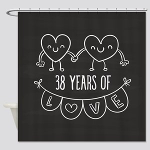 38th Anniversary Gift Chalkboard He Shower Curtain