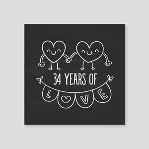 "34th Anniversary Gift Chalk Square Sticker 3"" x 3"""