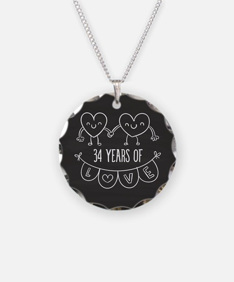 34th Anniversary Gift Chalkb Necklace