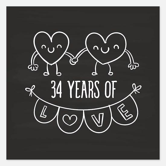 34th Anniversary Gift Chalk Invitations