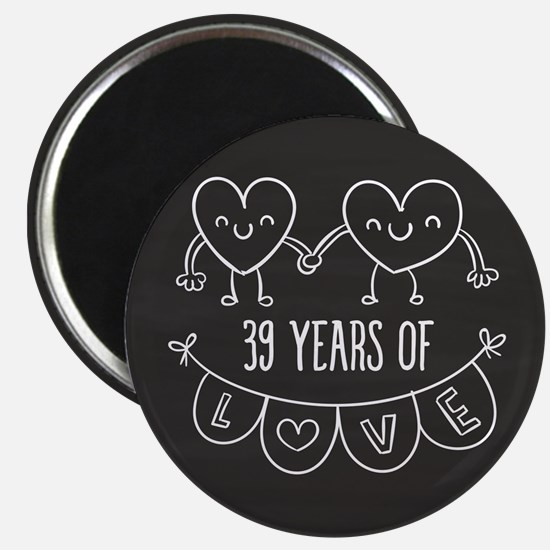 39th Anniversary Gift Chalkboard Hearts Magnet